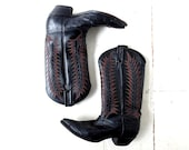 Tony Lama Boots | Cowgirl Boots | Ostrich Boots | Black Cowboy Boots | Size 7