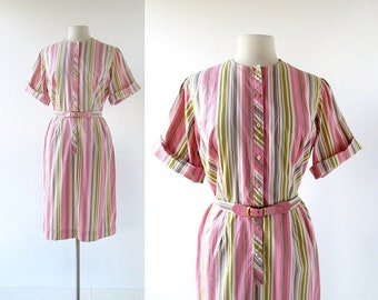 Vintage 1960s Dress | Turkish Delight | Striped Dress | 60s Dress | L XL