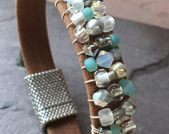 Beaded Brown Suede Leather Bracelet