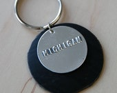 MICHIGAN  Stamped Metal Keychain