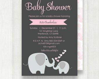 Elephant Baby Shower Invitation   Pink Elephant Baby Shower Invitation   Girl Baby Shower Invitation   Digital   Printable {Baby50}