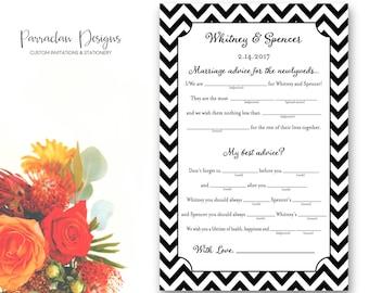 Wedding Mad Libs | Wedding Advice Cards | Chevron Mad Libs | FS19