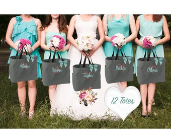 12 bridesmaid tote bags , bridesmaid gifts , tote bag , beach bag , bachelorette party gift ,wedding bag , maid of honor