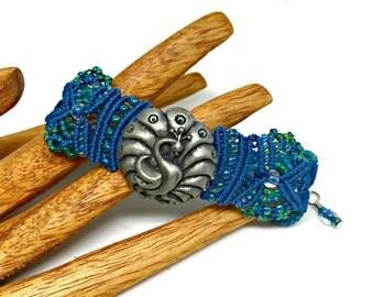 Peacock Micro Macrame Bracelet  - Pewter Button - Beaded Macrame Bracelet - Bird - Feather - Blue Bracelet