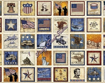 "40 Blocks Quilting Treasures /Dan Morris ""Home of the Brave"" #24806-E Patriotic Fabric Panel 23 1/2"" x 44"""