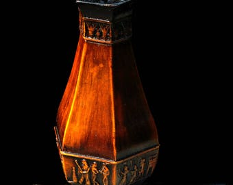 Magnificent Hand Crafted Egyptian Vintage Bas Relief Motif Vase in Antique Wood Finish