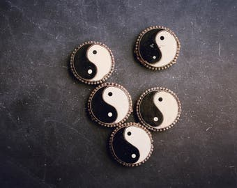 Yin Yang Belt Fragments, Boho Belt Pieces, Jewelry Supplies, Chinese Philosophy, Balance Symbols, Age of Aquarius, Assemblage Supplies