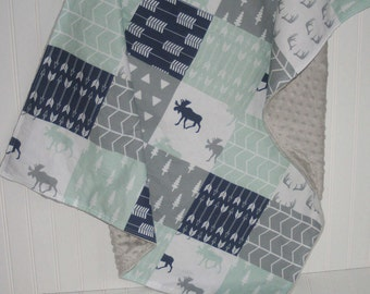 baby blanket- woodland baby blanket- faux patchwork minky baby blanket- arrow baby blanket- navy baby blanket- moose baby blanket
