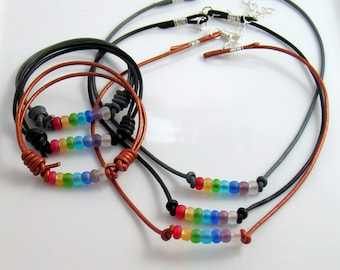 Rustic Chakra Sets, Select Choker Bracelet Earrings, Set or Singles, Frosted Czech Glass Rainbow & Leather, Yoga Accessories, Hippie Style