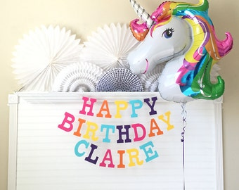 Unicorn Birthday Banner & Balloon - 5 inch Letters - Rainbow Unicorn Party Decorations Custom Name Banner Unicorn Banner Unicorn Balloon