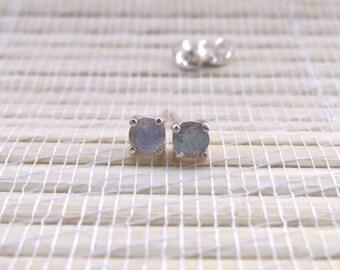 Labradorite Stud Earrings Sterling Silver 4mm