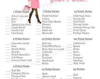 Instant Download - What's In Your Purse Shower Game - Pregnant Mama Pink - Printable PDF