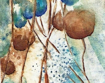 "ACEO ""Pods"" Print of original watercolor"