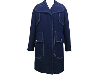 Vintage 60s 70s MOD Navy Wool Coat w/ Contrast Stitching M/L