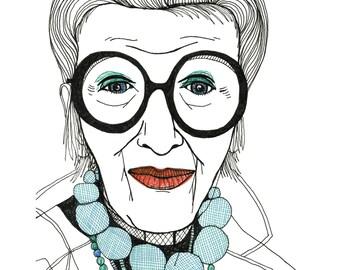 Iris Apfel illustration art print