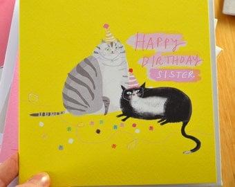 Happy Birthday Sister - Birthday Cat Card - Sister Birthday - Square Card
