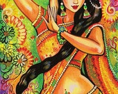 feminine beauty bollywood dance Indian decor beautiful Indian woman painting belly dance affordable art gifts, poster woman wall, 8x11+