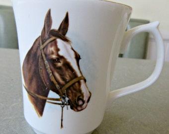 Vintage Mug, Horse Mug, Equine Cup, Coffee Cup, Made in England, Bone China Mug, Horse Cup, Equestrian, Jason Works, Nanrich Pottery Cup