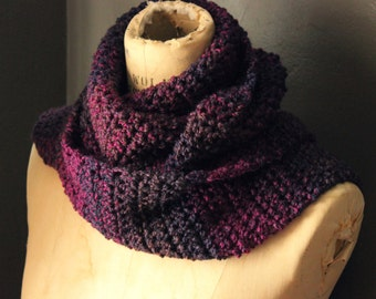 The Orchid House Storyteller Scarf. Rustic, Bohemian, Hand Crocheted, Plum, Purple, Fushia Pink, Wrap Scarf with Fringe.