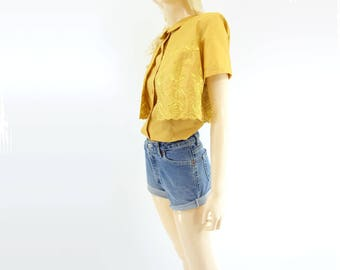 Vintage Linen Blouse Embroidered Blouse 60s Yellow Blouse Vintage 60s Crop Top Embroidered Top 1960s Linen Blouse Yellow Linen Shirt m