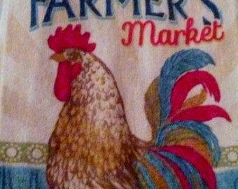 Farmer's Market Rooster Themed Pot Holder Topped Kitchen Towel