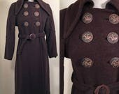 1930s Belted Brown Wool Vintage Coat with Great Buttons SZ S/M