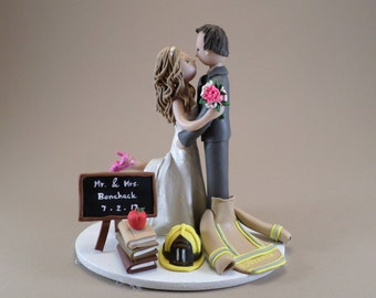 Firefighter & Teacher Custom Handmade Unique Wedding Cake Topper