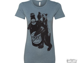 Womens Beer Hug Bear -hand screen printed tee s m l xl xxl (+ Colors Available)