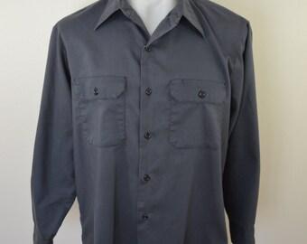 Vintage TREASURE ISLAND work shirt made in USA long sleeve grey Large 1970's