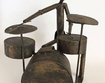 Brutalist Drummer Sculpture, Mid Century Modern Wrought Metal Room Decor, Vintage Distressed Metal Musician Sculpture