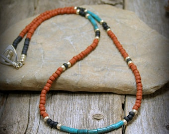Turquoise Beaded Necklace for Men or Women SouthwestTribal Design 4mm Beads