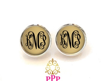 Gold Monogram Earrings Style 629