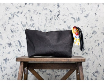 COAL CLUTCH Natural Leather Black Pouch with Fringe Tassel from Chicago USA