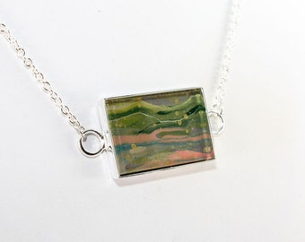 Abstract Art Pendant - Drip Painting on Acrylic in Silver Rectangle Necklace - Green, Gray, Blue, Gold (Original Painting)