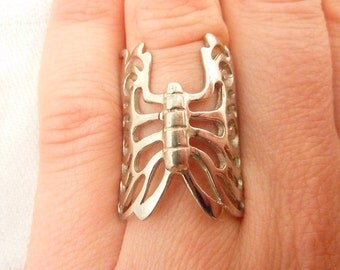 Vintage Sterling Silver Butterfly Ring Size 6 3/4