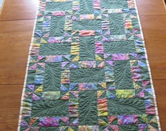 Beautiful green and batik table runner NEW LISTING