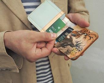 Personalised Leather Wallet /  Men's Leather Billfold Wallet  / Leather Card case  - Tiger Tiger Print Design