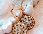 SALE 20% Off Art Deco Earrings - Diamond - Crystal Cluster Earrings - Italian Renaissance Jewelry - AURORA Ice