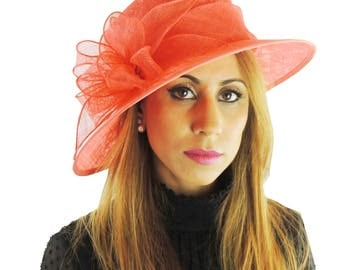 Coral Pink Hat for Kentucky Derby, Weddings Other Colours Too