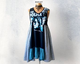 Band T-Shirt Upcycled Dress The Police Sting Bohemian Chic Womens Black Sundress Festival Clothing DIY Vintage Tee Fringe Dress S M 'BRIANNA