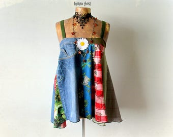 Patchwork Top Hippie Clothing Recycled Jeans Women's Swing Tank Gypsy Festival Boho Chic Clothes Unique Shirt Bohemian Fashion S M 'ABIGAIL'