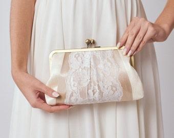 Bridal Clutch | Lace Purse | Ivory Clutch | Wedding Clutch [Macaron Clutch]