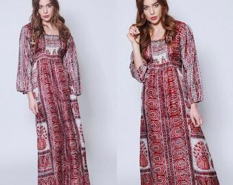 Vintage 70s INDIAN SILK Dress Burgundy ETHNIC Caftan Block Print Maxi Dress Long Sleeve Boho Dress 70s Caftan