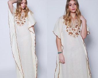 Vintage 70s Cream Caftan EMBROIDERED Caftan Boho Maxi Dress ETHNIC Hippie Dress