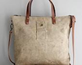 Vintage Military Duffel Bag Tote Beige Distressed Tan Veteran Antique One of a Kind