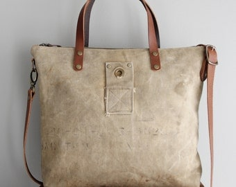 Vintage Military Duffel Bag Tote Beige Distressed Tan Veteran Antique One of a Kind