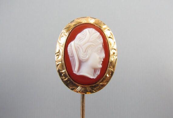 Antique Victorian 10k rose gold hardstone sardonyx cameo stick pin / stickpin / lapel pin / tie pin / tie tack / brooch / F.P. Scofield