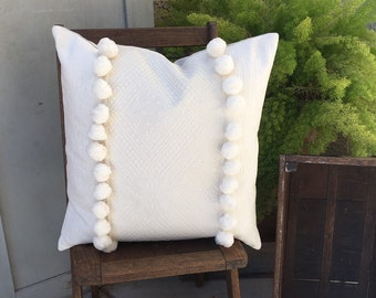 Designer Textured  Cream  Tone on Tone  Pom Pom Pillow Cover   Elegant and Simple Design  Farmhouse / Shabby Chic / Modern