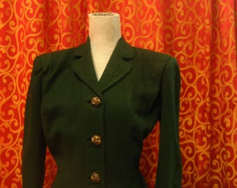 "1940's, 40"" bust, forest green wool jacket"