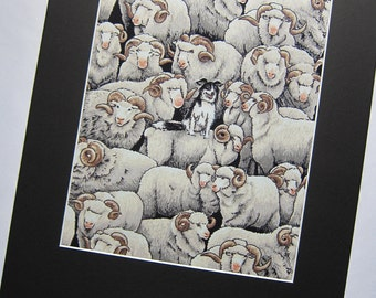 "RARE FABRIC ART Designs Mounted For Framing - Merinos and Collie Nutex Fabric - 8""x10"" Matted Image  - Final Size with Board 11""x14"""